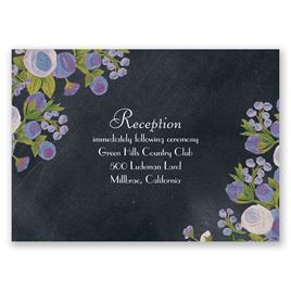 Chalkboard Peonies - Lavender - Reception Card