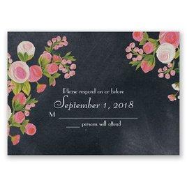 Chalkboard Peonies - Posie Pink - Response Card