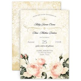 watercolor wedding invitations vintage garden foil invitation - Watercolor Wedding Invitations