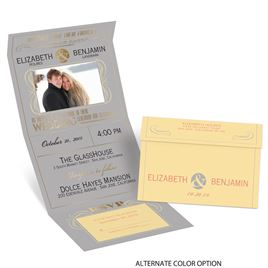 Modern Romance - Gold - Foil Seal and Send Invitation