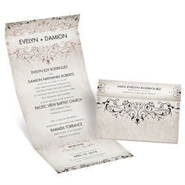 Victorian Elegance - Rose Gold - Foil Seal and Send Invitation