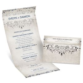 Victorian Elegance - Silver - Foil Seal and Send Invitation