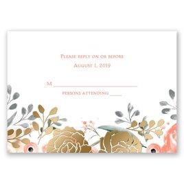 Whimsical Rose - Gold - Foil Response Card