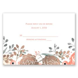 Whimsical Rose - Rose Gold - Foil Response Card