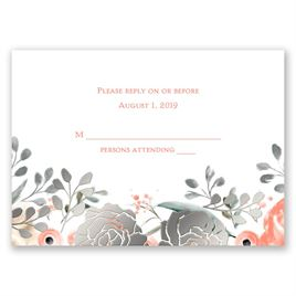 Whimsical Rose - Silver - Foil Response Card