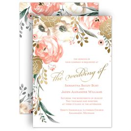 whimsical rose foil invitation - Rose Gold Wedding Invitations