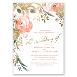 Whimsical Rose - Gold - Foil Invitation