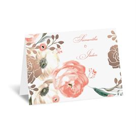 Whimsical Rose - Rose Gold - Foil Thank You Card