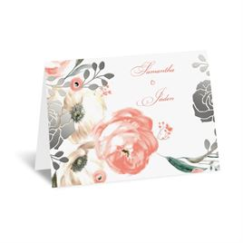 Whimsical Rose - Silver - Foil Thank You Card