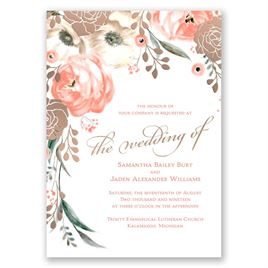Whimsical Rose - Rose Gold - Foil Invitation