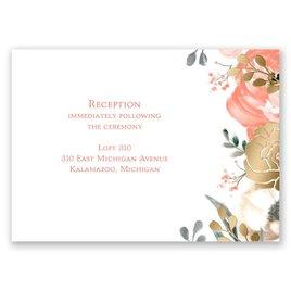 Whimsical Rose - Gold - Foil Reception Card