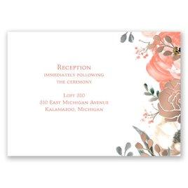 Whimsical Rose - Rose Gold - Foil Reception Card