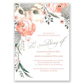 Whimsical Rose - Silver - Foil Invitation