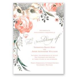 Whimsical Rose - Silver - Foil Invitation