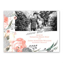 Whimsical Rose - Silver - Foil Save the Date Card