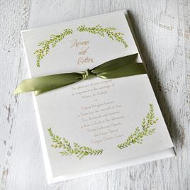 Burlap and Leaves - Invitation