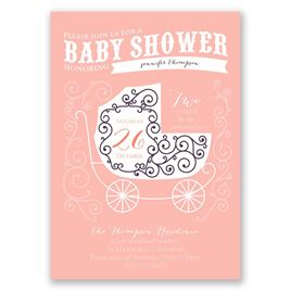Vintage Bassinet - Baby Shower Invitation