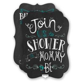 David Tutera Baby Shower Invitations: Chalkboard Crest Baby Shower Invitation