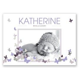 Pretty Butterflies - Silver - Foil Birth Announcement