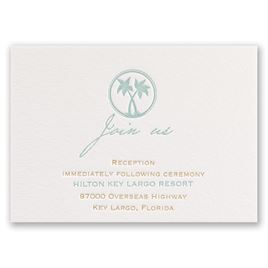 Tropical Chic - Letterpress Reception Card