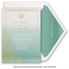 Sea Beauty - Aqua - Foil Invitation