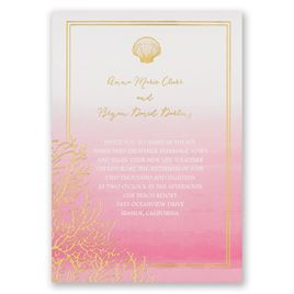 Sea Beauty - Fuchsia - Foil Invitation