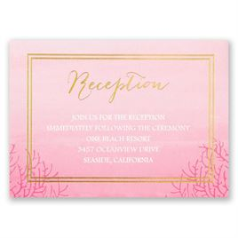 Sea Beauty - Fuchsia - Foil Reception Card