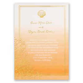Sea Beauty - Poppy - Foil Invitation