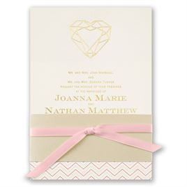 Wedding Invitations With Ribbon: Jewel Of My Heart Foil Invitation