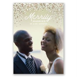 Merrily Married - Rose Gold Foil - Holiday Card