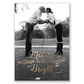 Making Spirits Bright - Gold Foil - Holiday Card Save the Date