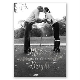 Making Spirits Bright - Silver Foil - Holiday Card Save the Date