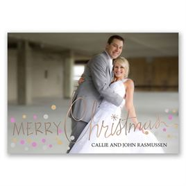 Christmas Lights - Rose Gold Foil - Holiday Card