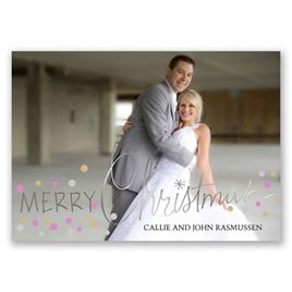 Christmas Lights - Silver Foil - Holiday Card