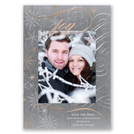 Winters Joy - Rose Gold Foil - Holiday Card Save the Date