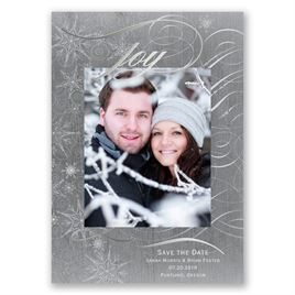 Winters Joy - Silver Foil - Holiday Card Save the Date