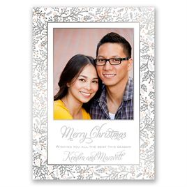 Christmas Holly - Silver Foil - Holiday Card Save the Date