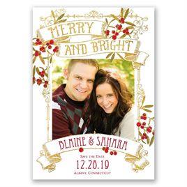 Berry Merry - Faux Foil - Holiday Card Save the Date