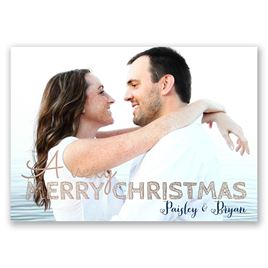 Christmas Plaid - Rose Gold Foil - Holiday Card Save the Date
