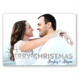 Christmas Plaid - Silver Foil - Holiday Card Save the Date