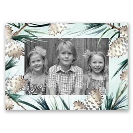 Frosted Pine Cones - Silver Foil - Holiday Card