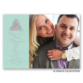 Silver Wishes - Faux Glitter - Holiday Card Save the Date