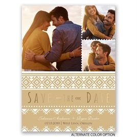 Pretty Patterns - Gold - Foil Save the Date Card