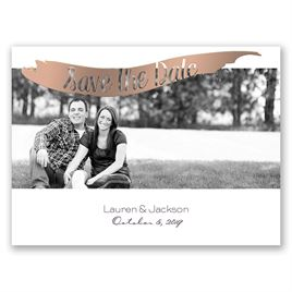 Brushed Banner - Rose Gold - Foil Save the Date Card