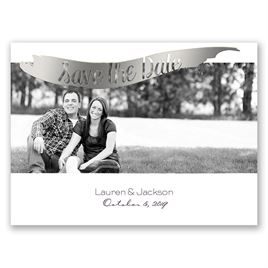 Brushed Banner - Silver - Foil Save the Date Card