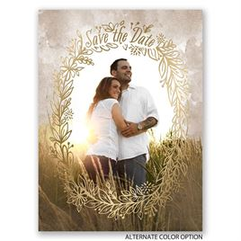 Prairie Charm - Gold - Foil Save the Date Card