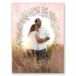 Prairie Charm - Rose Gold - Foil Save the Date Card