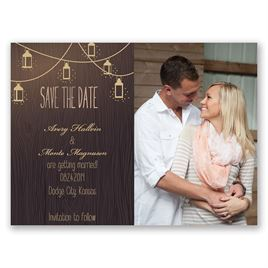 Glowing Lanterns - Rose Gold - Foil Save the Date Card