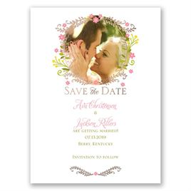 Weaving Flowers - Rose Gold - Foil Save the Date Card