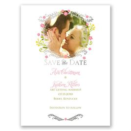 Weaving Flowers - Silver - Foil Save the Date Card
